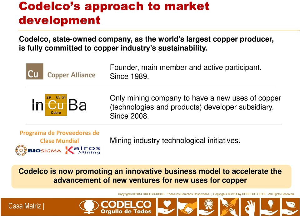 Only mining company to have a new uses of copper (technologies and products) developer subsidiary. Since 2008.