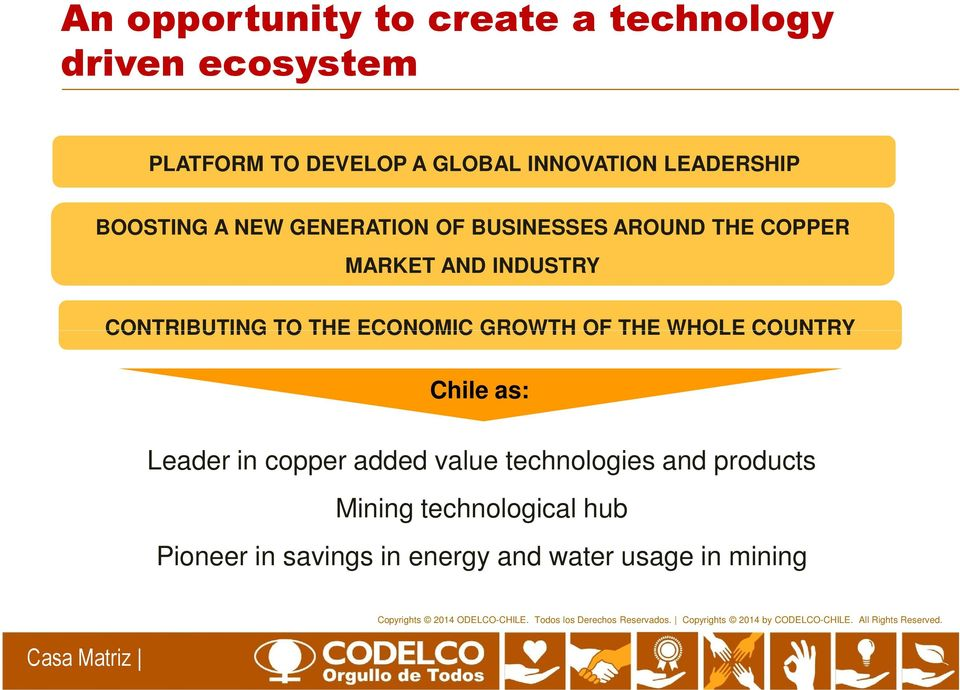 CONTRIBUTING TO THE ECONOMIC GROWTH OF THE WHOLE COUNTRY Chile as: Leader in copper added value