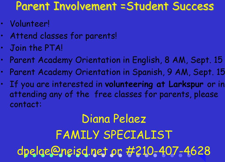 15 Parent Academy Orientation in Spanish, 9 AM, Sept.