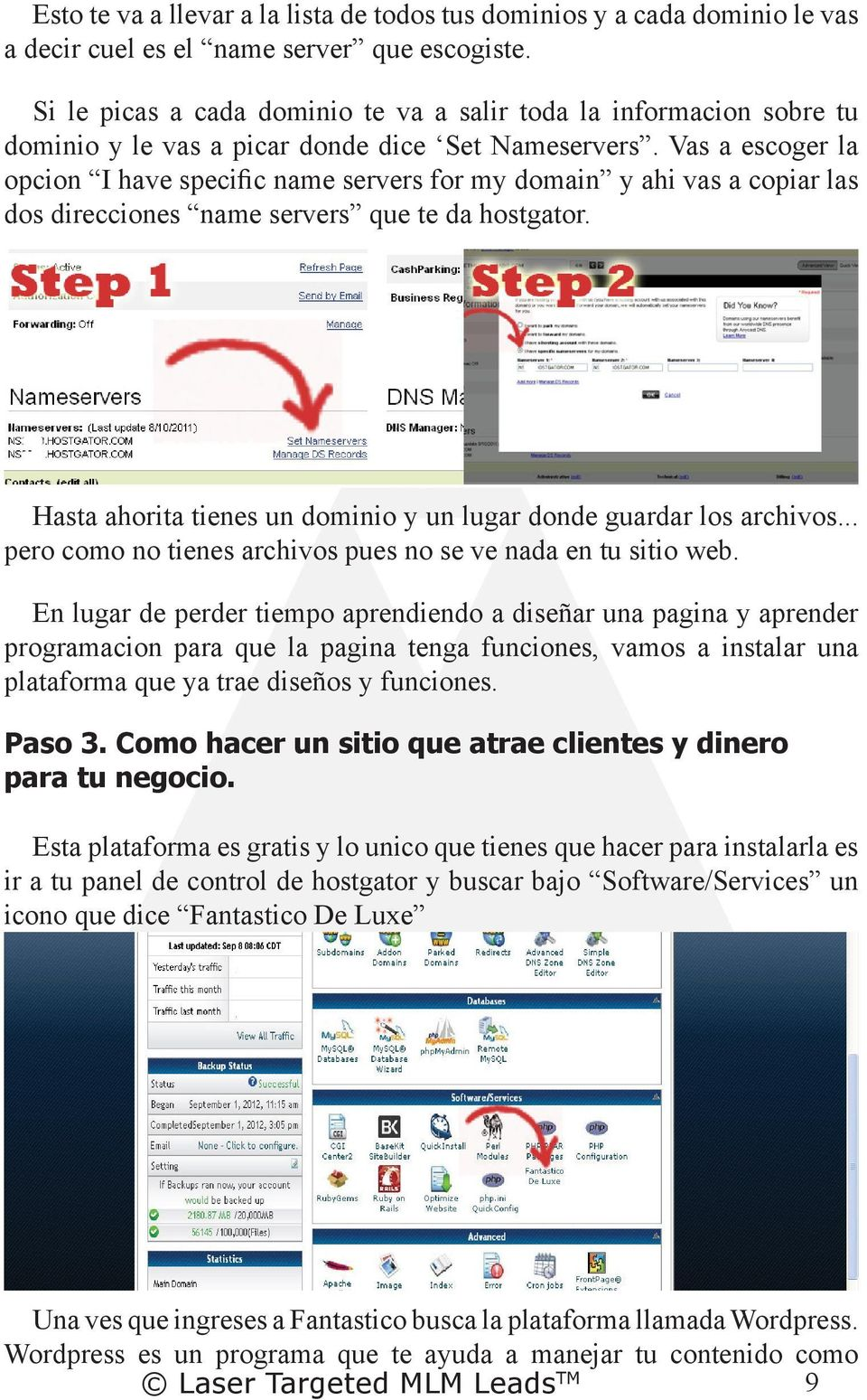 Vas a escoger la opcion I have specific name servers for my domain y ahi vas a copiar las dos direcciones name servers que te da hostgator.