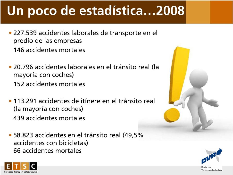 796 accidentes laborales en el tránsito real (la mayoría con coches) 152 accidentes mortales 113.