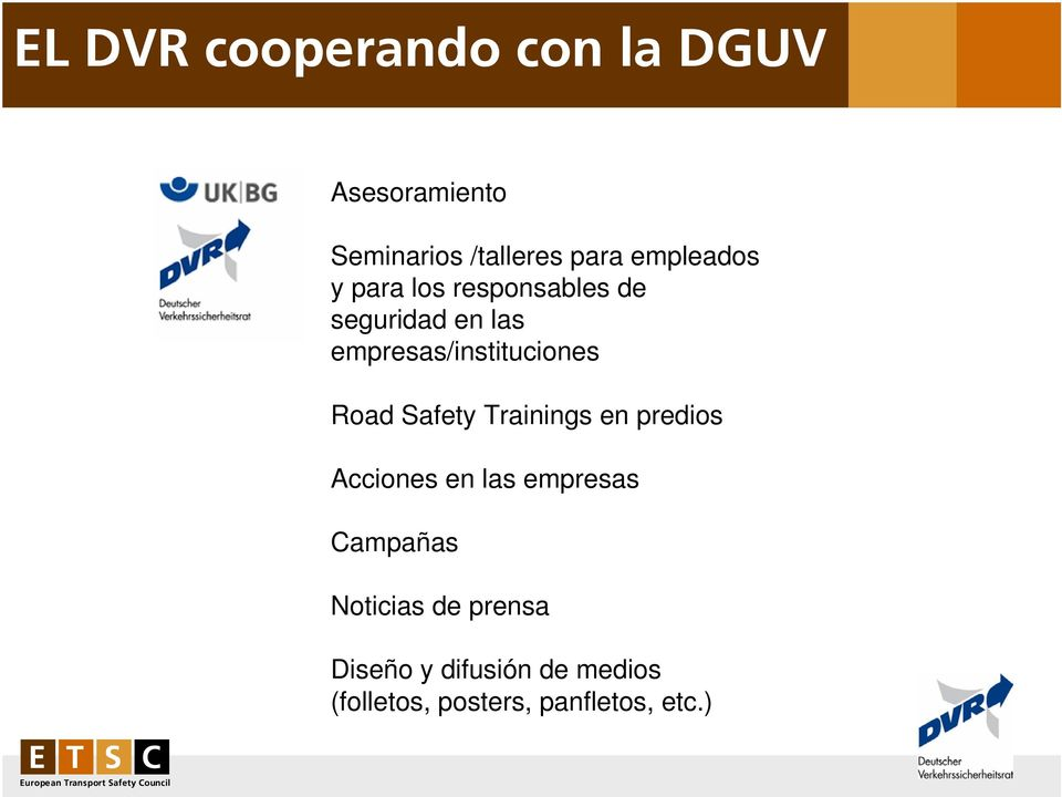 empresas/instituciones Road Safety Trainings en predios Acciones en las