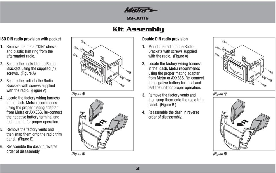 Metra recommends using the proper mating adapter from Metra or AXXESS. Re-connect the negative battery terminal and test the unit for proper operation. 5.