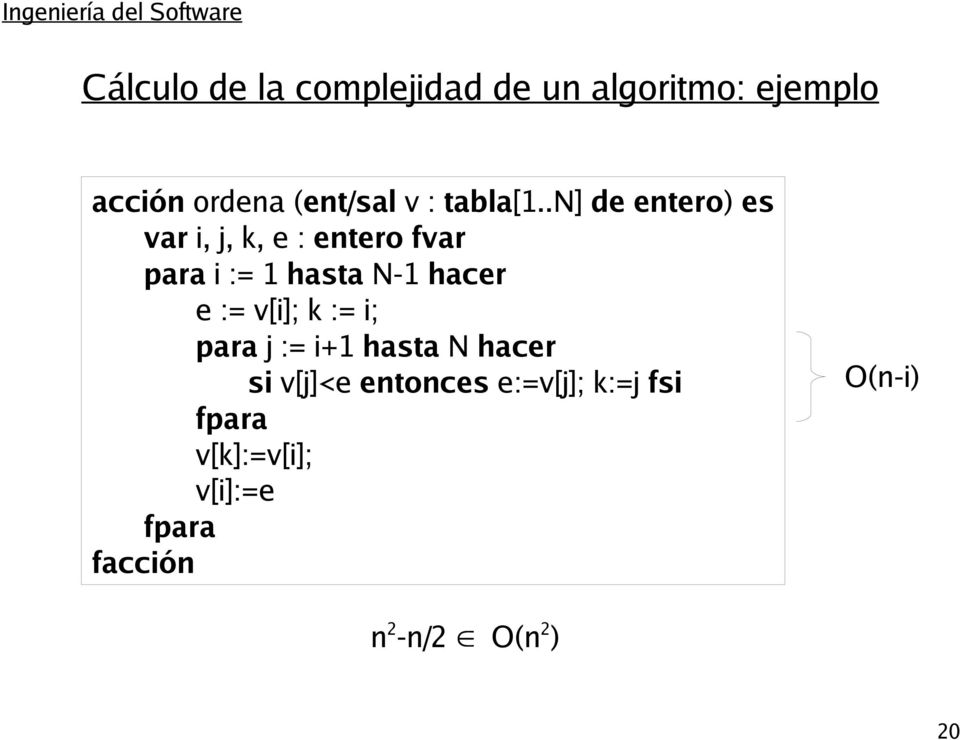 .n] de entero) es var i, j, k, e : entero fvar para i := 1 hasta N-1 hacer e