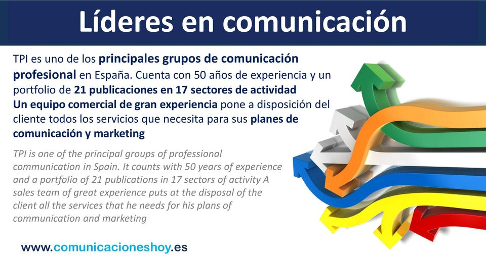 cliente todos los servicios que necesita para sus planes de comunicación y marketing TPI is one of the principal groups of professional communication in Spain.