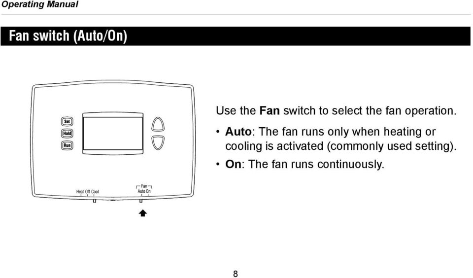 Auto: The fan runs only when heating or cooling is