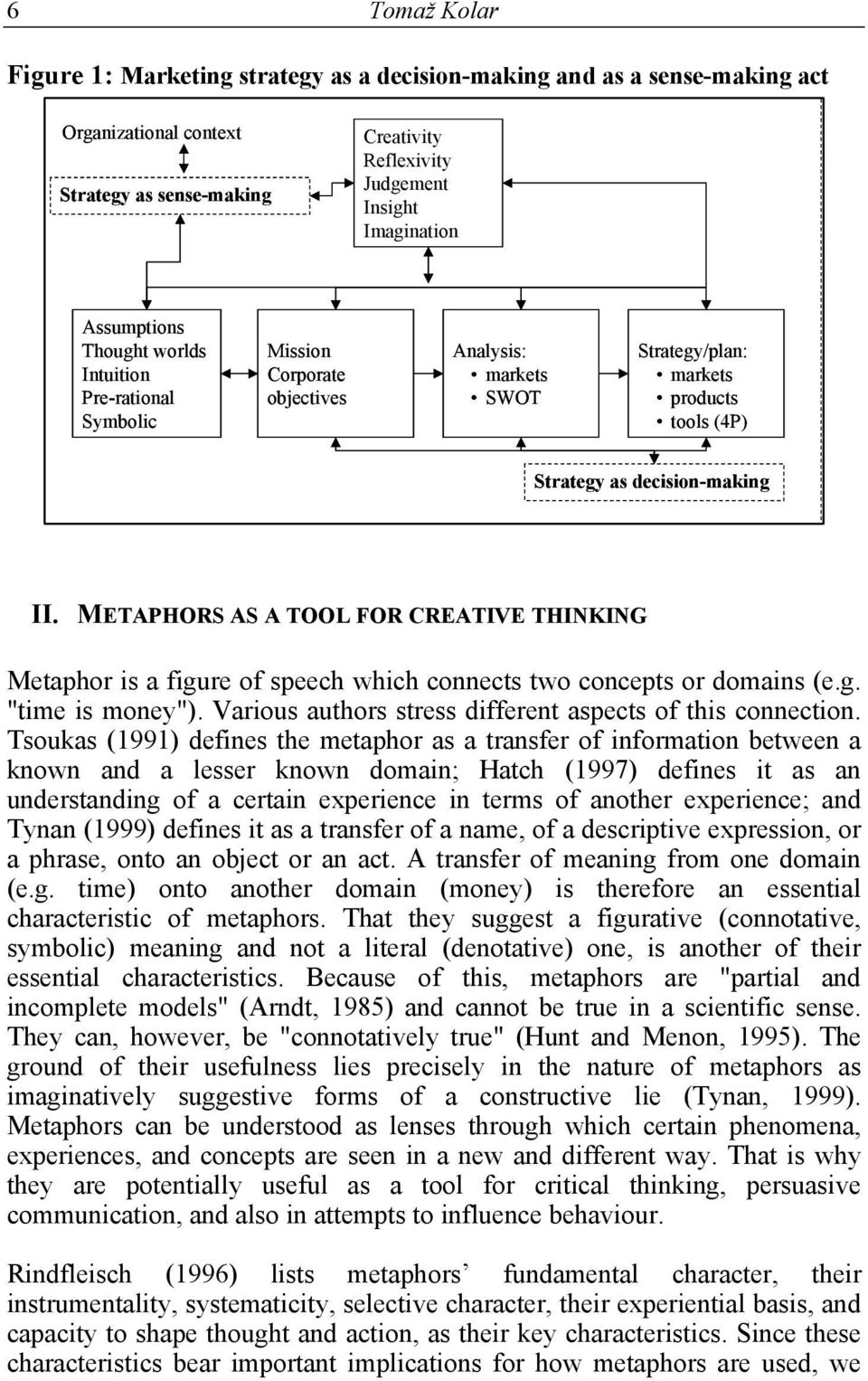 "METAPHORS AS A TOOL FOR CREATIVE THINKING Metaphor is a figure of speech which connects two concepts or domains (e.g. ""time is money""). Various authors stress different aspects of this connection."
