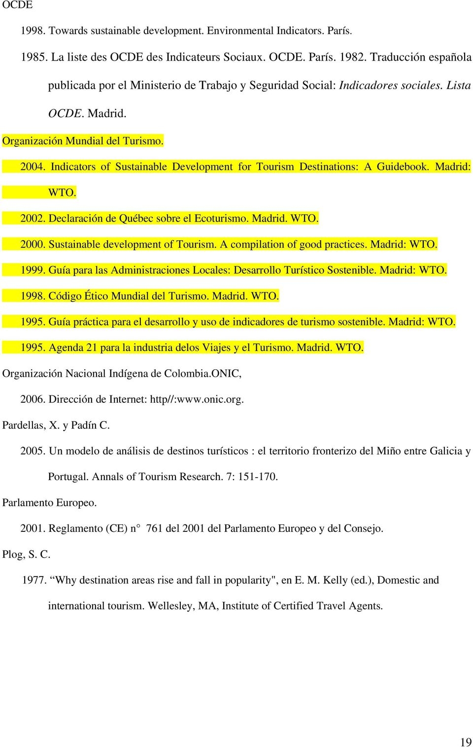 Indicators of Sustainable Development for Tourism Destinations: A Guidebook. Madrid: WTO. 2002. Declaración de Québec sobre el Ecoturismo. Madrid. WTO. 2000. Sustainable development of Tourism.