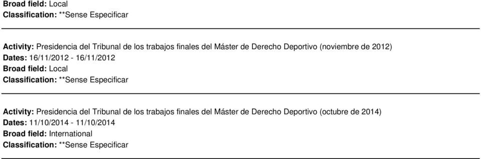 Derecho Deportivo (octubre de 2014) Dates: 11/10/2014-11/10/2014 Broad field: International Classification: