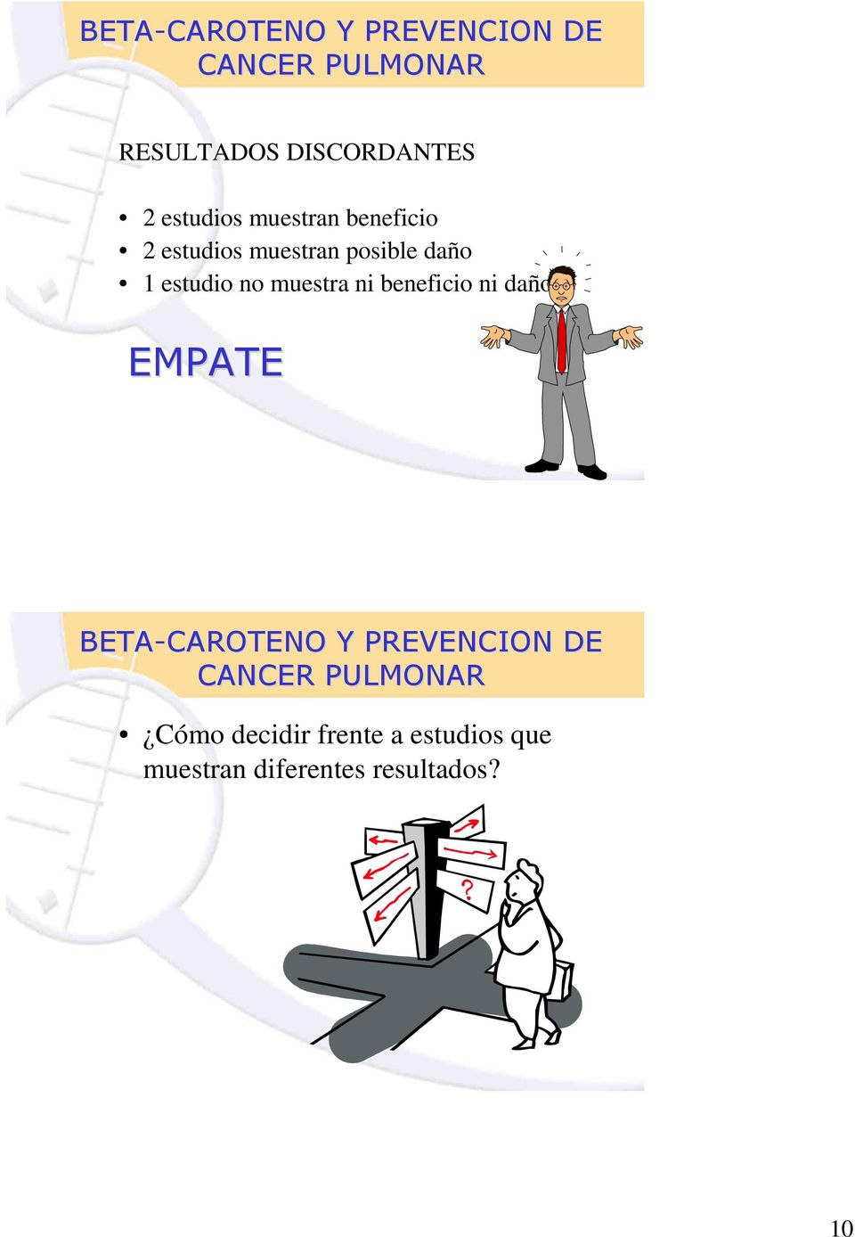 muestra ni beneficio ni daño EMPATE BETA-CAROTENO Y PREVENCION DE CANCER