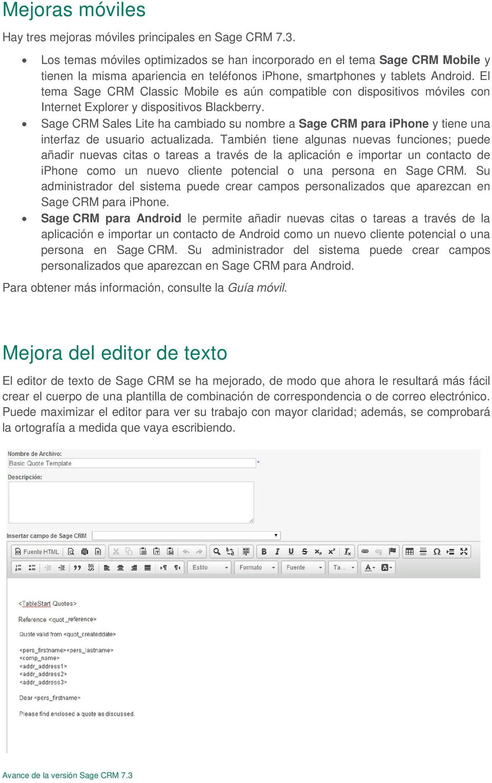El tema Sage CRM Classic Mobile es aún compatible con dispositivos móviles con Internet Explorer y dispositivos Blackberry.