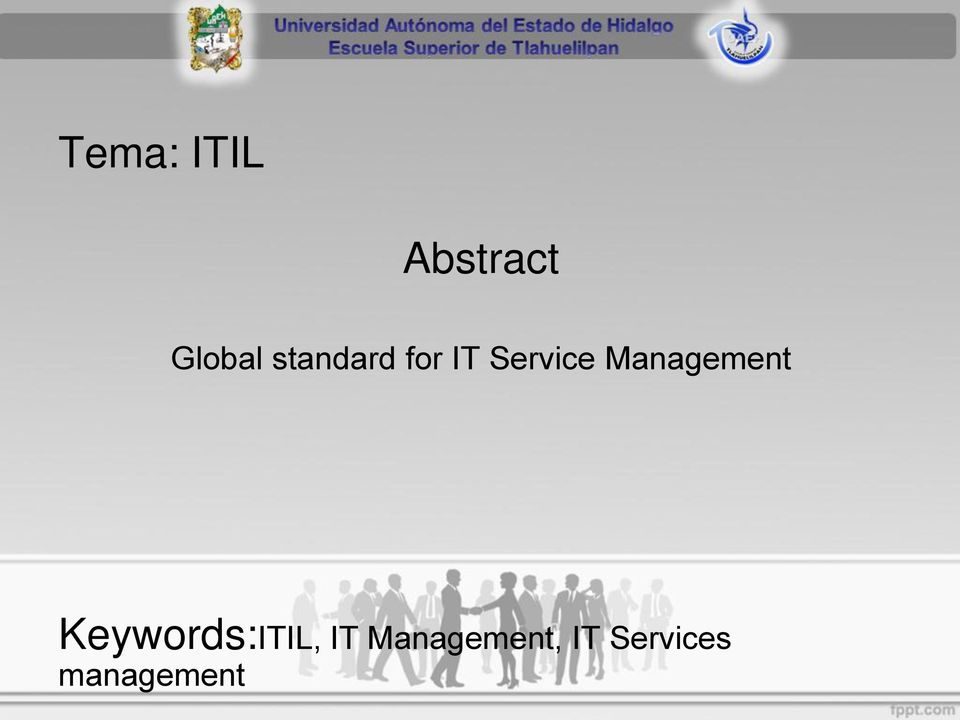 Management Keywords:ITIL, IT