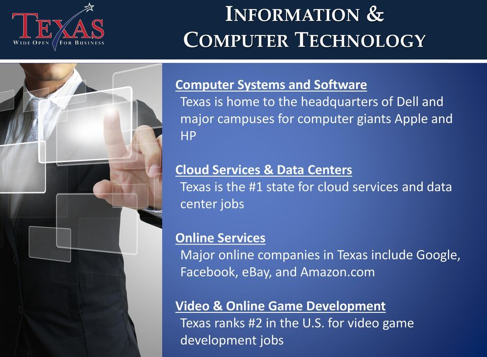 cloud services and data center jobs Online Services Major online companies in Texas include Google,