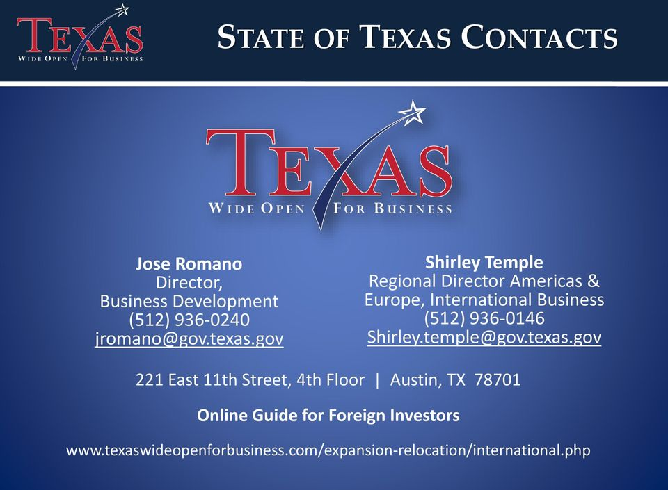 gov Shirley Temple Regional Director Americas & Europe, International Business (512) 936-0146