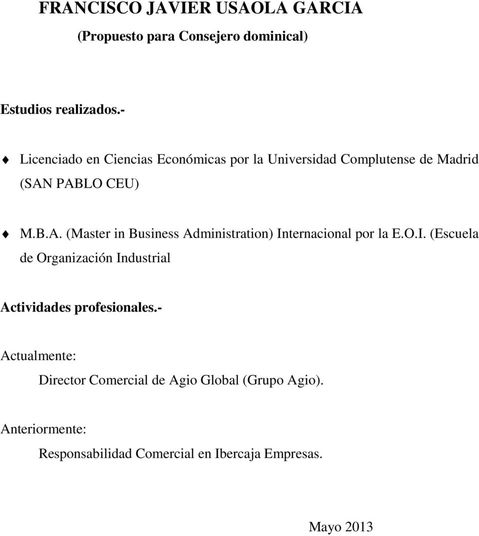 PABLO CEU) M.B.A. (Master in Business Administration) In
