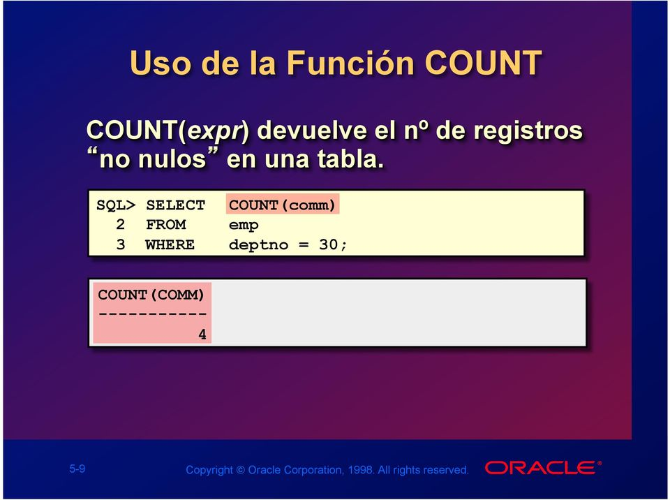 SQL> SELECT COUNT(comm) 2 FROM emp 3 WHERE deptno = 30;