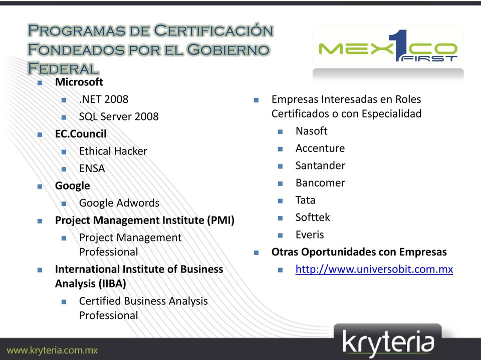 International Institute of Business Analysis (IIBA) Certified Business Analysis Professional Empresas Interesadas en Roles