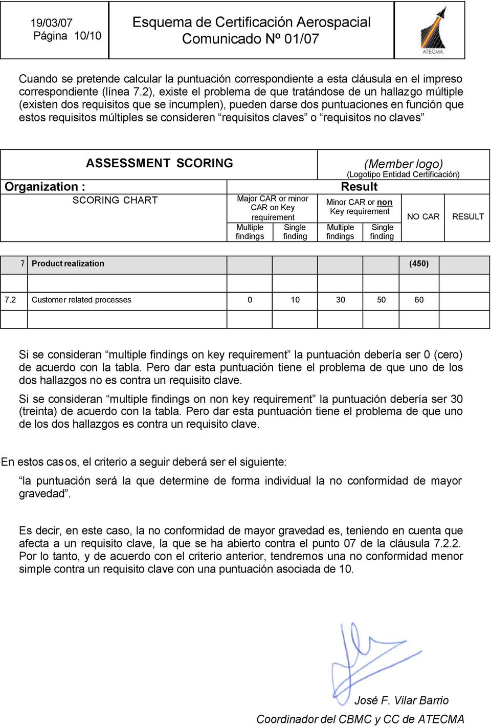requisitos claves o requisitos no claves Organization : ASSESSMENT SCORING SCORING CHART Major CAR or minor CAR on Key requirement Multiple findings Single finding (Member logo) (Logotipo Entidad