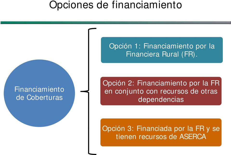 Financiamiento de Coberturas Opción 2: Financiamiento por la FR en