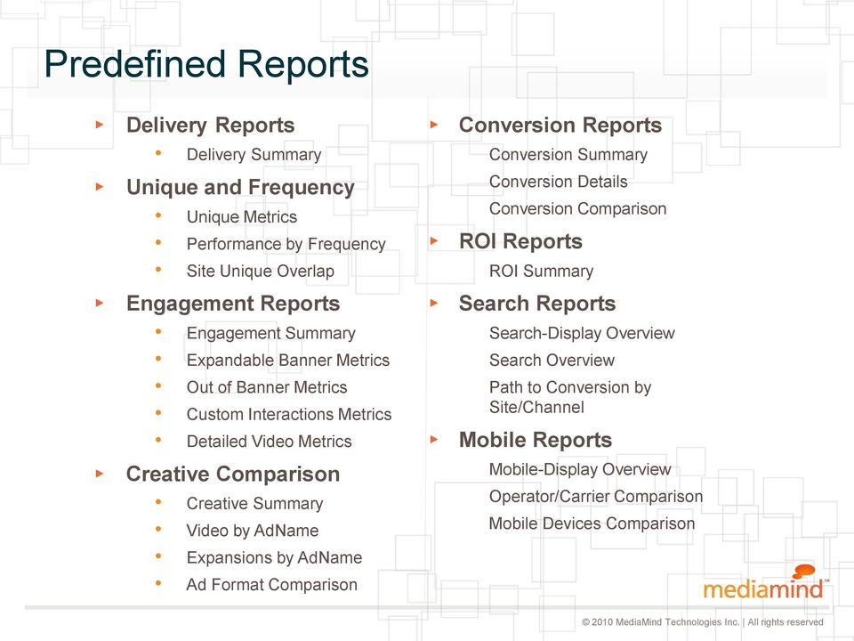Metrics Custom Interactions Metrics Detailed Video Metrics Search Reports Search-Display Overview Search Overview Path to Conversion by Site/Channel Mobile