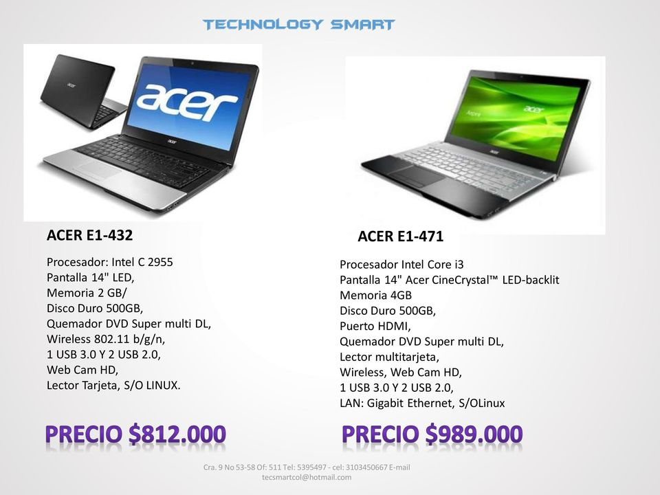 "ACER E1-471 Procesador Intel Core i3 Pantalla 14"" Acer CineCrystal LED-backlit Memoria 4GB Disco Duro 500GB,"