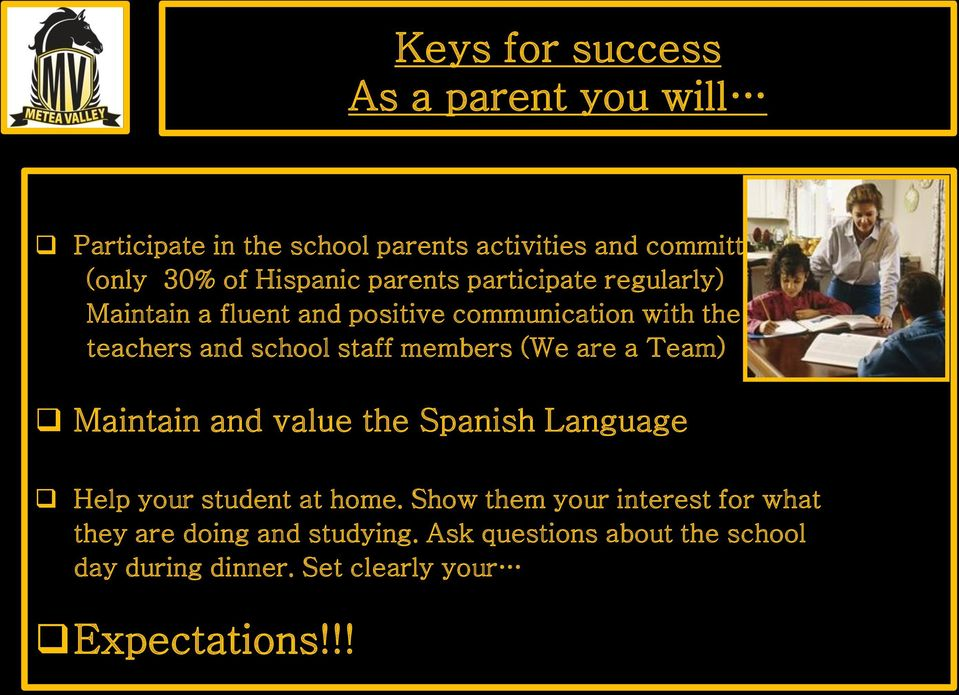 staff members (We are a Team) Maintain and value the Spanish Language Help your student at home.