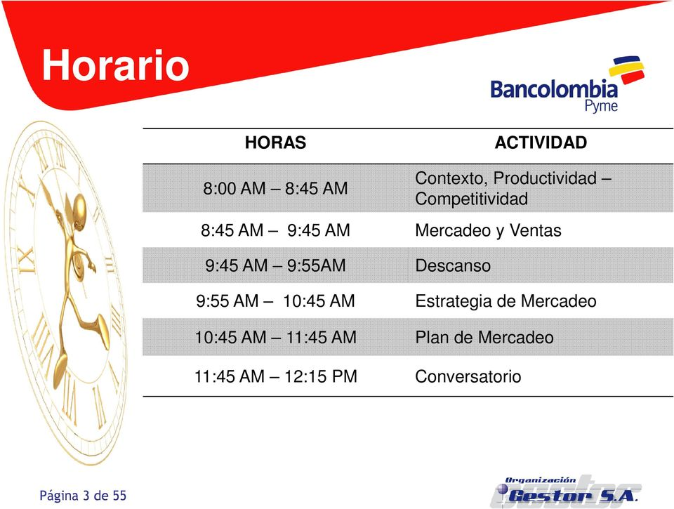 Descanso 9:55 AM 10:45 AM Estrategia de Mercadeo 10:45 AM 11:45