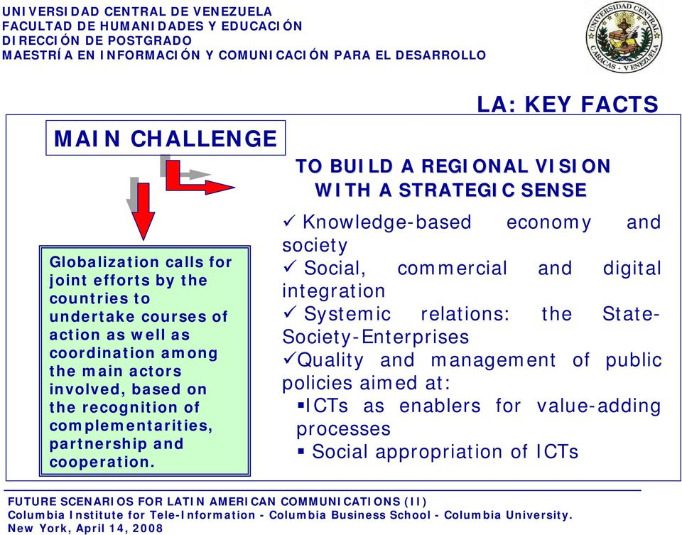 LA: KEY FACTS TO BUILD A REGIONAL VISION WITH A STRATEGIC SENSE Knowledge-based economy and society Social, commercial and digital