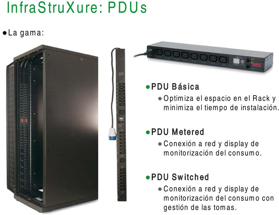 PDU Metered Conexión a red y display de monitorización del consumo.
