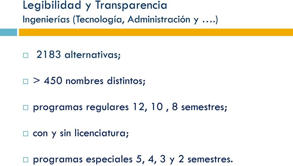 ) 2183 alternativas; > 450 nombres distintos; programas