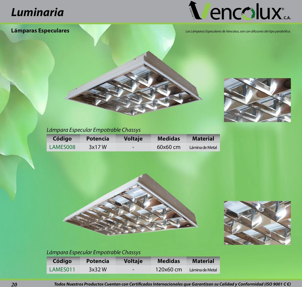 Lámpara Especular Empotrable Chassys LAMES008 3x17 W - Medidas