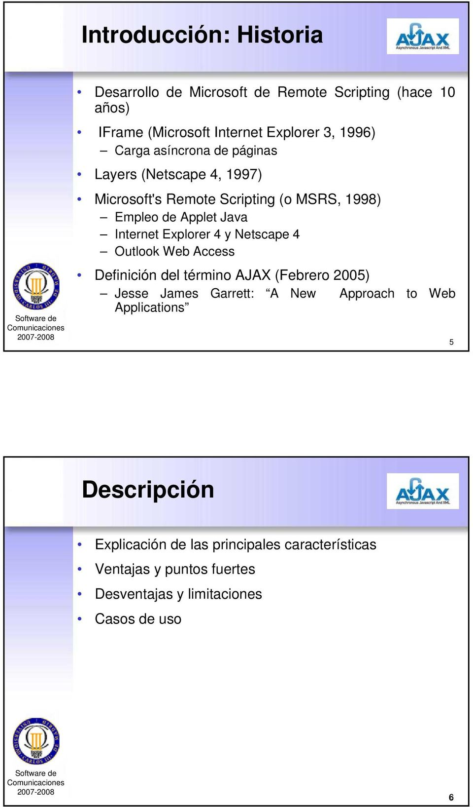 Explorer 4 y Netscape 4 Outlook Web Access Definición del término AJAX (Febrero 2005) Jesse James Garrett: A New Approach to Web