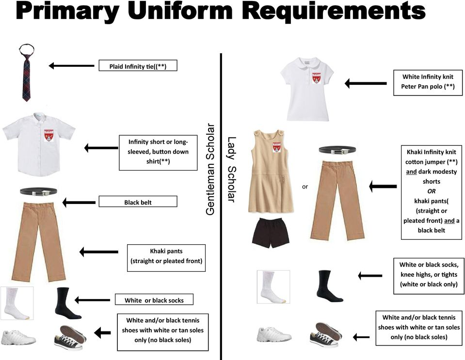 and a black belt Khaki pants (straight or pleated front) White or black socks, knee highs, or tights (white or black only) White or black socks White