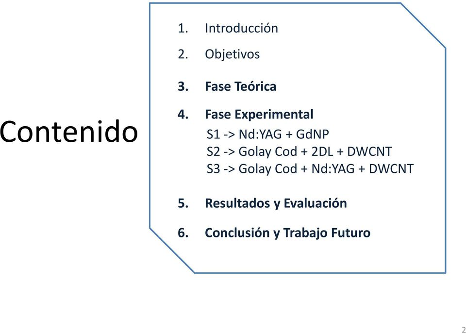 Fase Experimental S1->Nd:YAG+GdNP S2 -> Golay Cod+