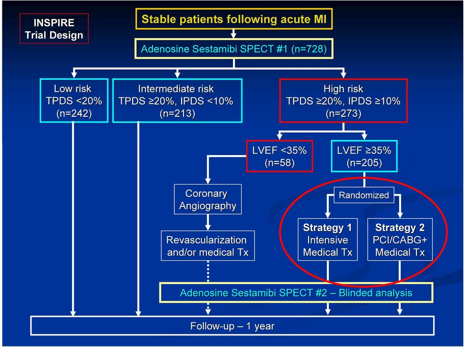 (n=58) LVEF 35% (n=205) Coronary Angiography Randomized Revascularization and/or medical Tx Strategy 1