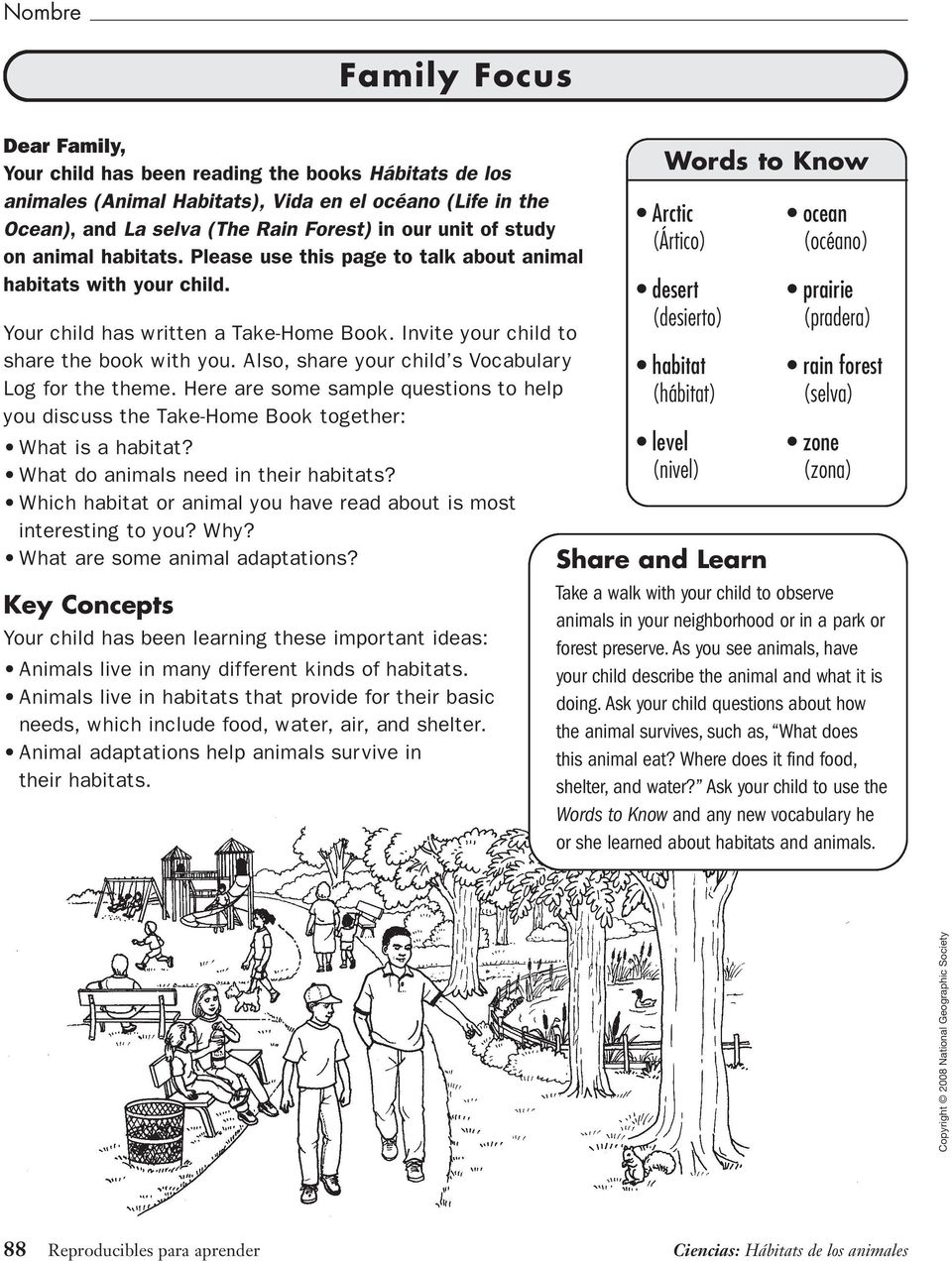 Also, share your child s Vocabulary Log for the theme. Here are some sample questions to help you discuss the Take-Home Book together: What is a habitat? What do animals need in their habitats?
