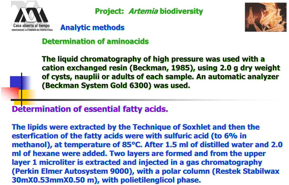 The lipids were extracted by the Technique of Soxhlet and then the esterfication of the fatty acids were with sulfuric acid (to 6% in methanol), at temperature of 85 C. After 1.