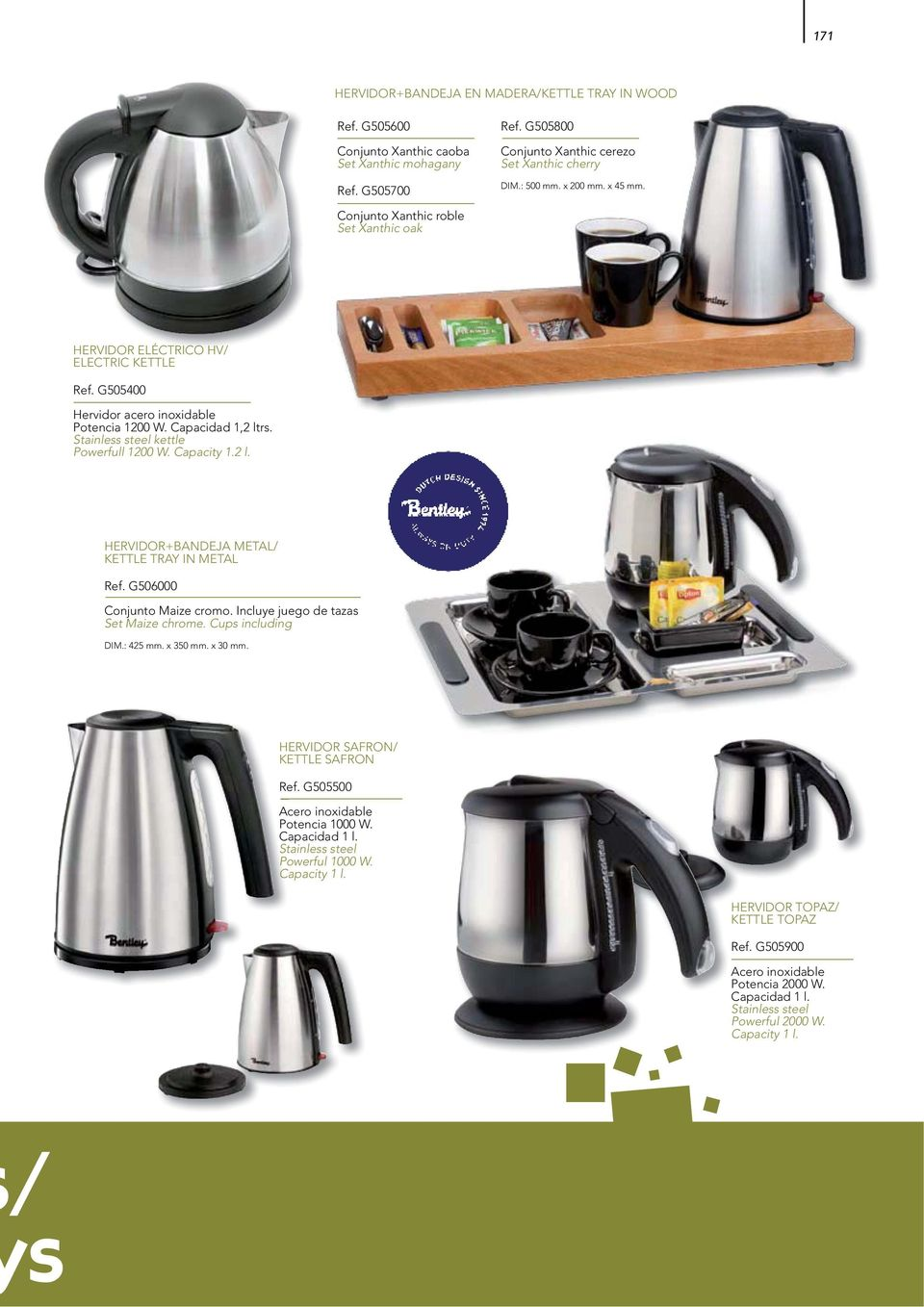 Stainless steel kettle Powerfull 1200 W. Capacity 1.2 l. HERVIDOR+BANDEJA METAL/ KETTLE TRAY IN METAL Ref. G506000 Conjunto Maize cromo. Incluye juego de tazas Set Maize chrome. Cups including DIM.
