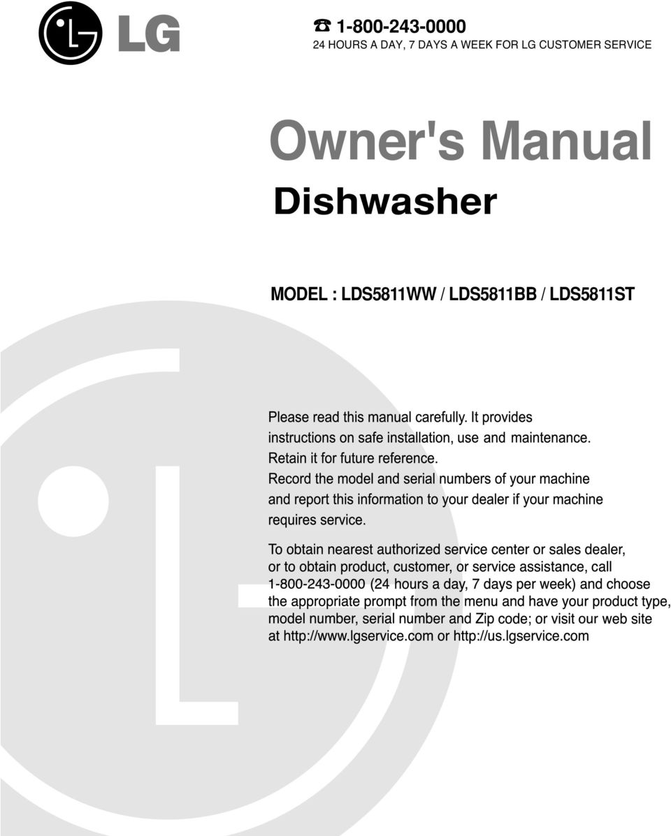 SERVICE Dishwasher MODEL :