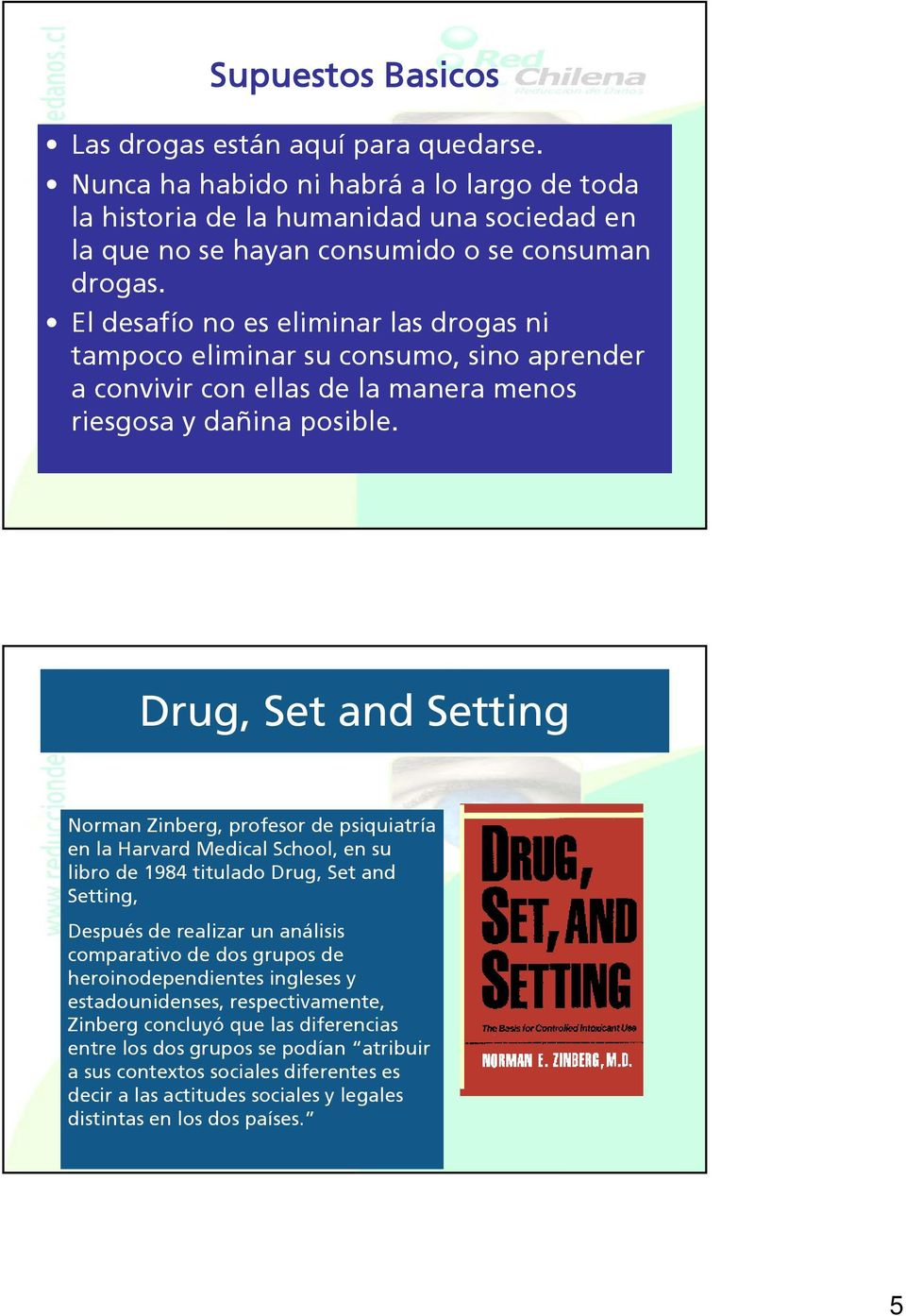 Drug, Set and Setting Norman Zinberg, profesor de psiquiatría en la Harvard Medical School, en su libro de 1984 titulado Drug, Set and Setting, Después de realizar un análisis comparativo de dos