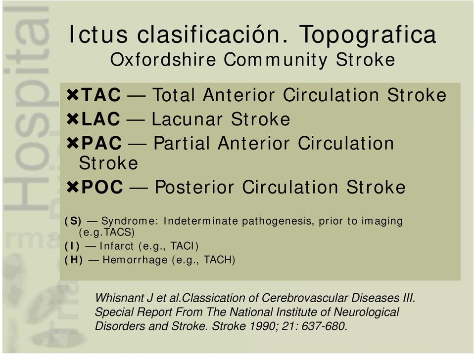 Circulation Stroke POC Posterior Circulation Stroke (S) Syndrome: Indeterminate pathogenesis, prior to imaging (e.g.tacs) (I) Infarct (e.