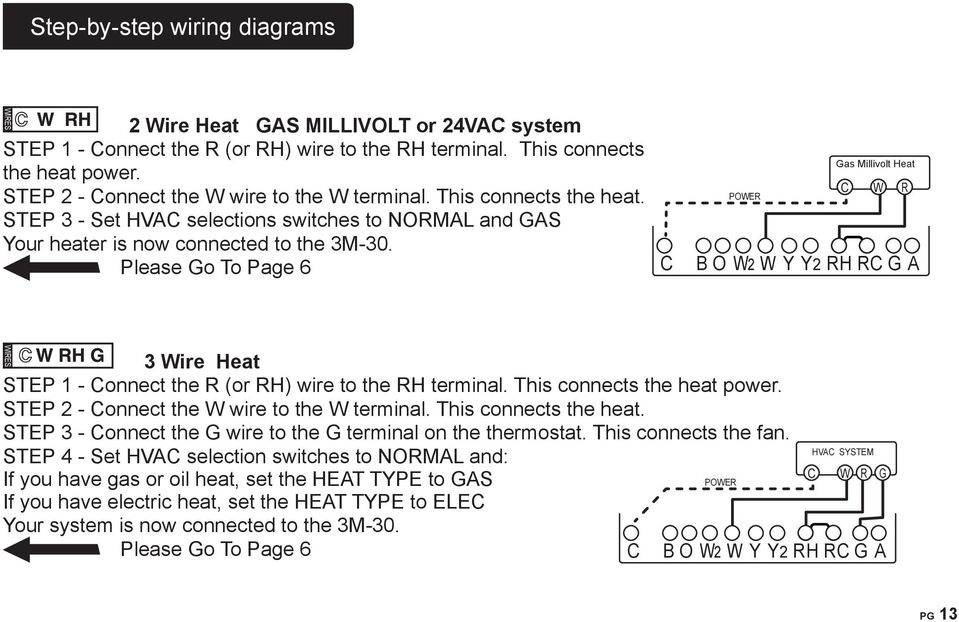 Please Go To Page 6 RADIO POER Gas Millivolt Heat R H B O 2 Y Y2 RH R G A 3 ire Heat STEP 1 - onnect the R (or RH) wire to the RH terminal. This connects the heat power.
