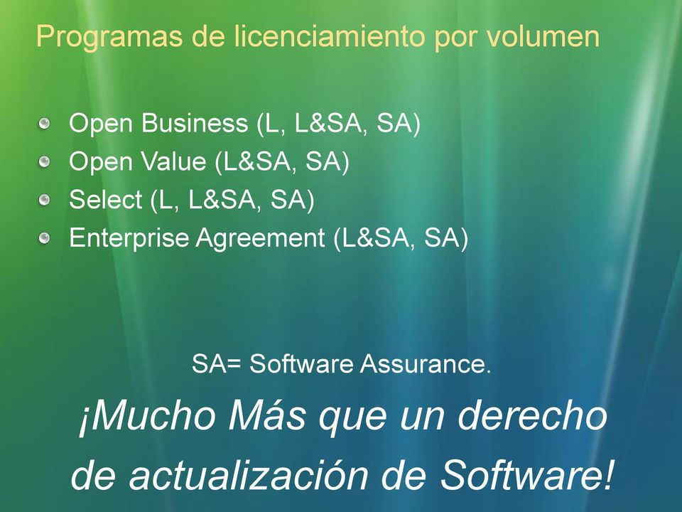 SA) Enterprise Agreement (L&SA, SA) SA= Software