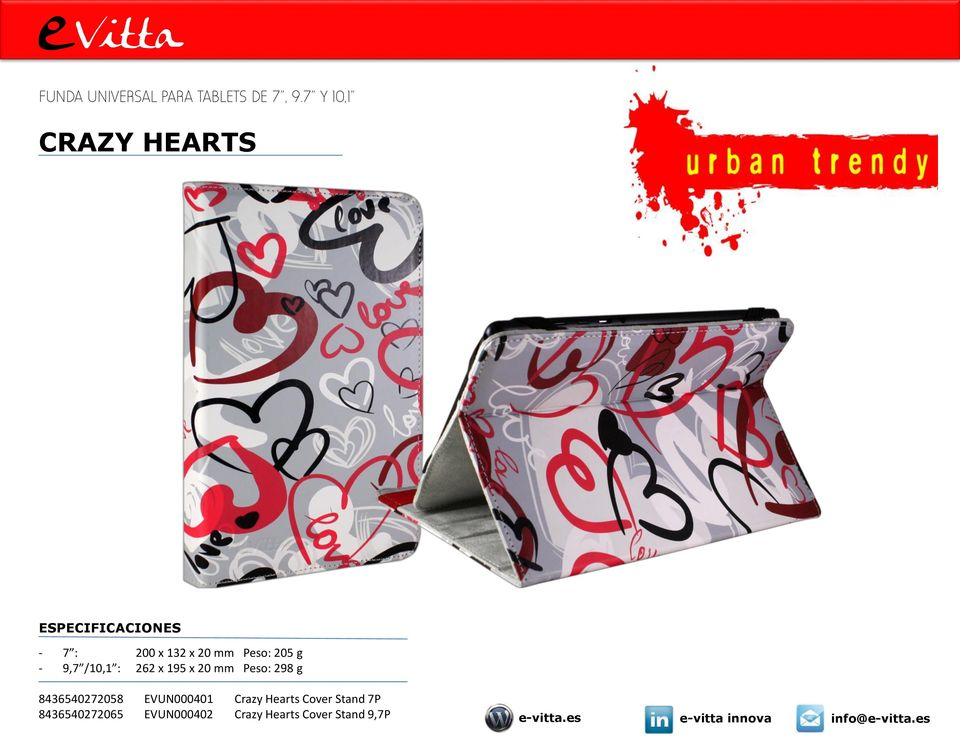 95 x 0 mm Peso: 98 g 8465407058 EVUN00040 Crazy Hearts Cover