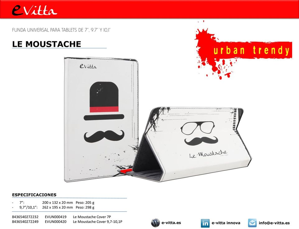 x 95 x 0 mm Peso: 98 g 8465407 EVUN00049 Le Moustache Cover 7P
