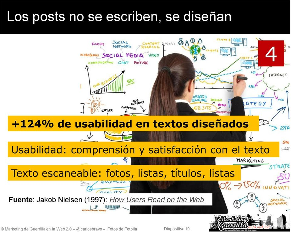 listas, títulos, listas Fuente: Jakob Nielsen (1997): How Users Read on the Web