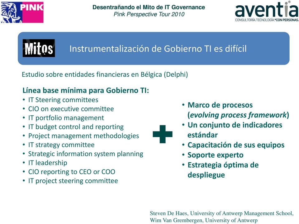 planning IT leadership CIO reporting to CEO or COO IT project steering committee Marco de procesos (evolvingprocess li framework) Un conjunto de indicadores estándar