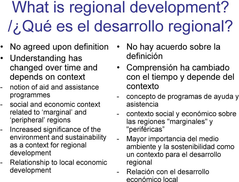 regions - Increased significance of the environment and sustainability as a context for regional development - Relationship to local economic development No hay acuerdo sobre la definición