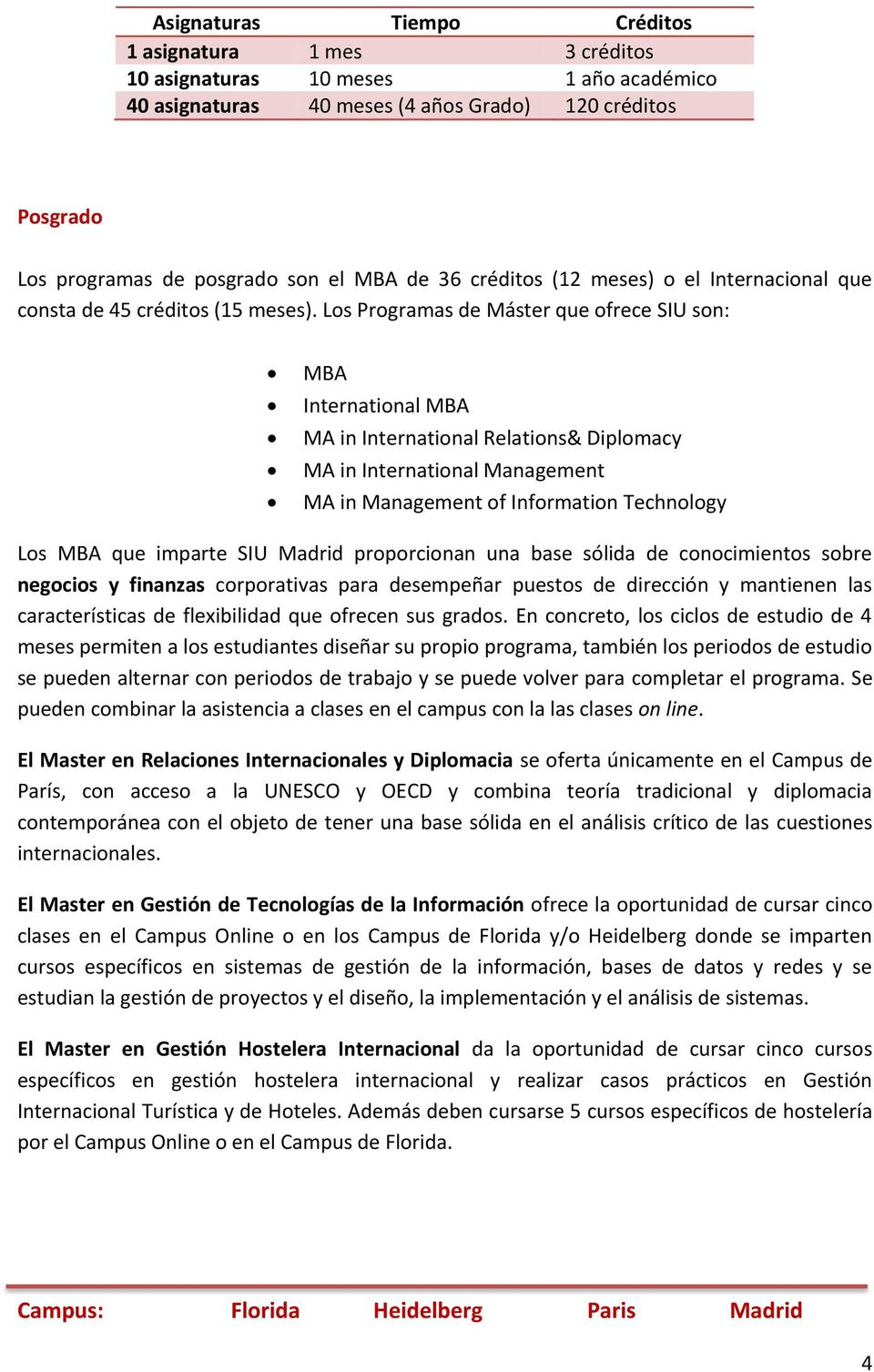 Los Programas de Máster que ofrece SIU son: MBA International MBA MA in International Relations& Diplomacy MA in International Management MA in Management of Information Technology Los MBA que