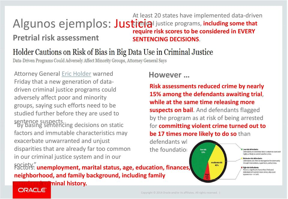 However Attorney General Eric Holder warned Friday that a new generation of datadriven criminal justice programs could Risk assessments reduced crime by nearly 15% among the defendants awaiting